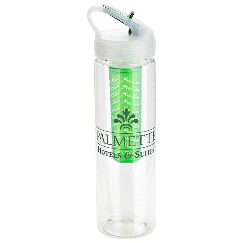 Arena 25 oz PET Eco-Polyclear(TM) Infuser Bottle with Flip-Up Lid Green