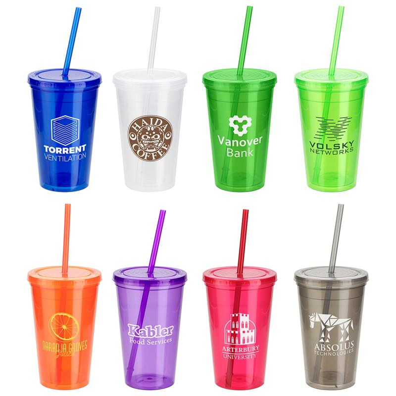 Trifecta 16 oz Double Wall Insulated Tumbler with Lid + Straw Blue