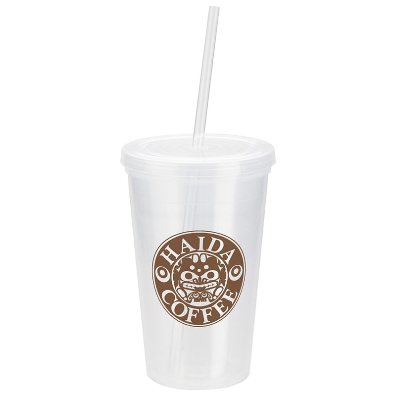 Trifecta 16 oz Double Wall Insulated Tumbler with Lid + Straw Clear