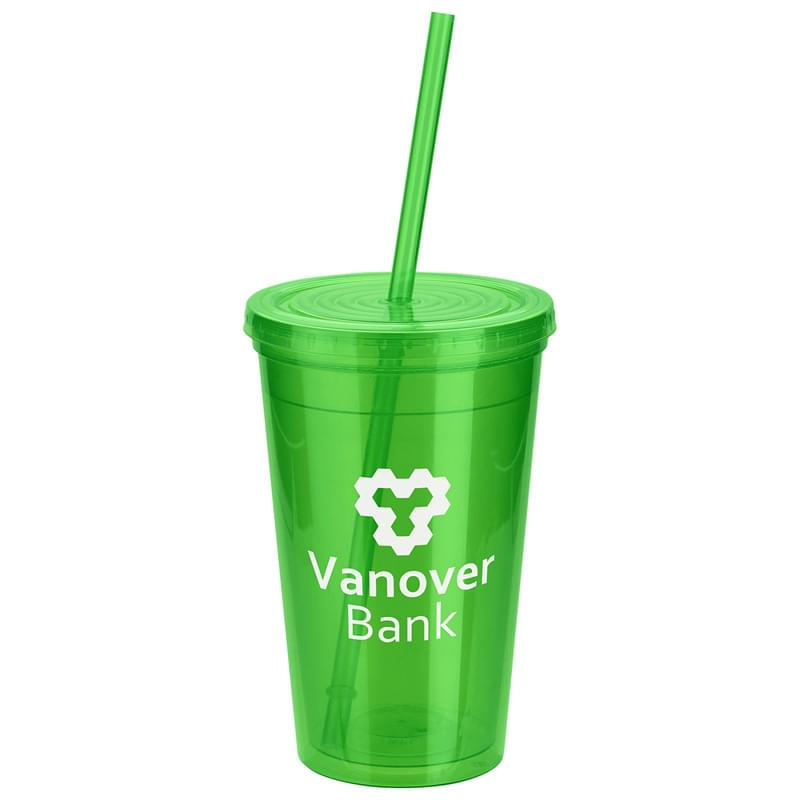 Trifecta 16 oz Double Wall Insulated Tumbler with Lid + Straw Green