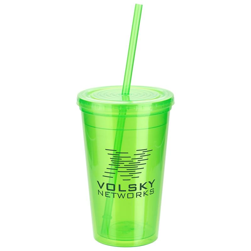 Trifecta 16 oz Double Wall Insulated Tumbler with Lid + Straw Lime Green