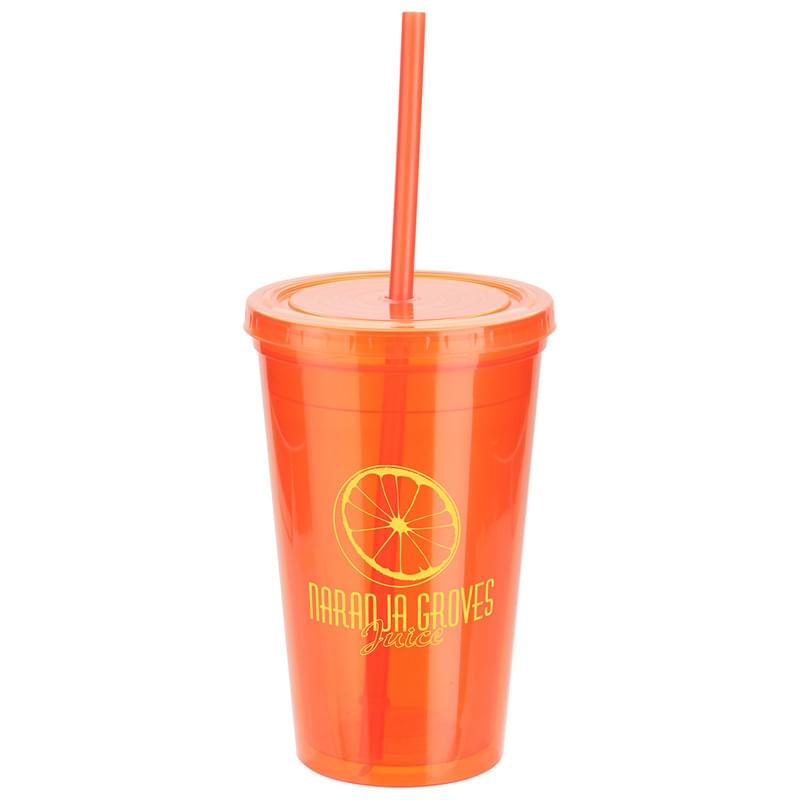 Trifecta 16 oz Double Wall Insulated Tumbler with Lid + Straw Orange