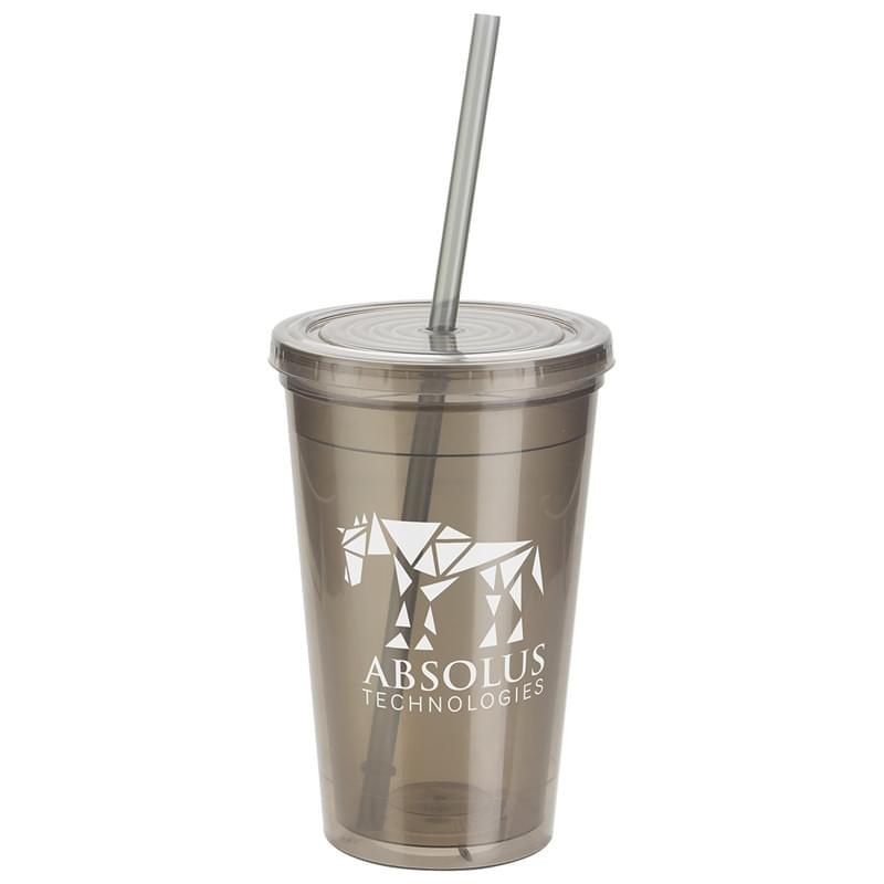 Trifecta 16 oz Double Wall Insulated Tumbler with Lid + Straw Smoke