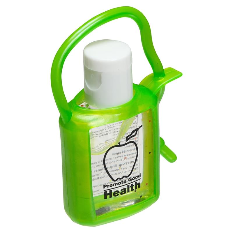 0.5 oz. Hand Sanitizer Gel with green rubber case and strap