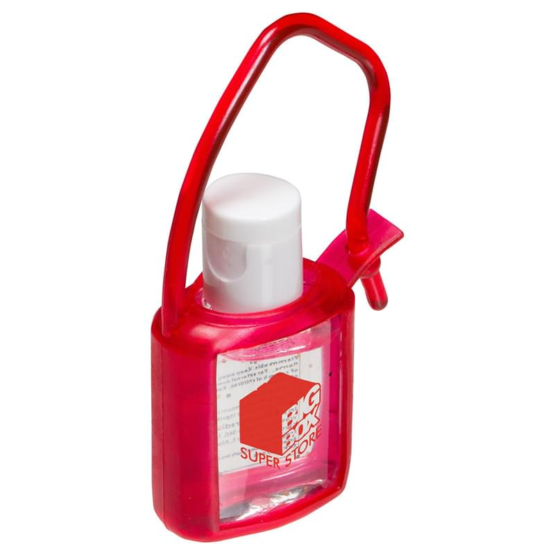 0.5 oz. Hand Sanitizer Gel with red rubber case and strap
