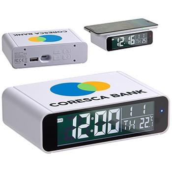 Twilight Digital Alarm Clock with 5W Wireless Charger White