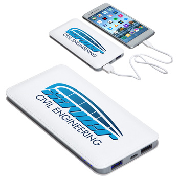 Ambassador 10000mAh Leather Power Bank White