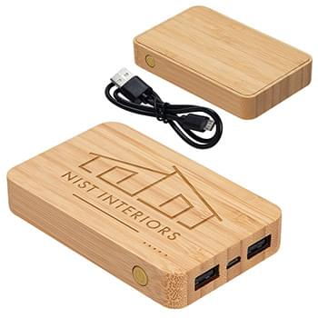 Bamboo 5000mAh Dual Port Power Bank with Wireless Charger Bamboo