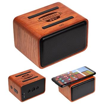 Mahogany Wireless Speaker with Wireless Charger Brown