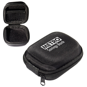 Polyester and EVA Zippered Earbud Case