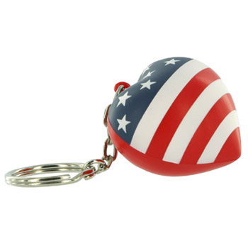 Patriotic Valentine Heart Stress Reliever Key Chain
