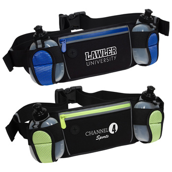 Sleek Water Resistant Sports Waist Pack w/ Dual Bottle Holder