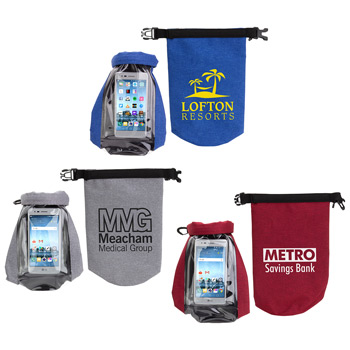 2 Liter Waterproof Gear Bag with Touch-Thru Phone Pocket Blue