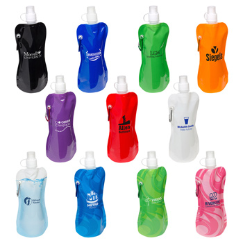 Foldable 16 oz Water Bottle with Carabiner