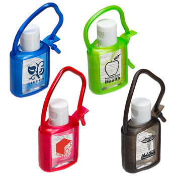 0.5 oz. Hand Sanitizer Gel with rubber case and strap