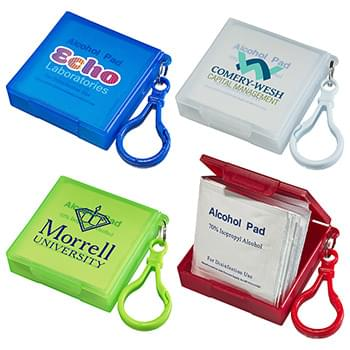 Handy Pack Sanitizing Wipes with Carabiner Blue