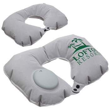 Air Pump Inflatable Neck Pillow Gray