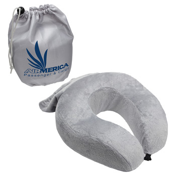 Rest Up Collapsible Neck Pillow with Carrying Pouch  Gray