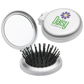 Travel Disk Brush & Mirror